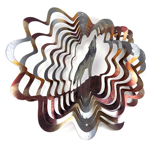 WorldaWhirl 3D Wind Spinner, Wolf Multi Rustic