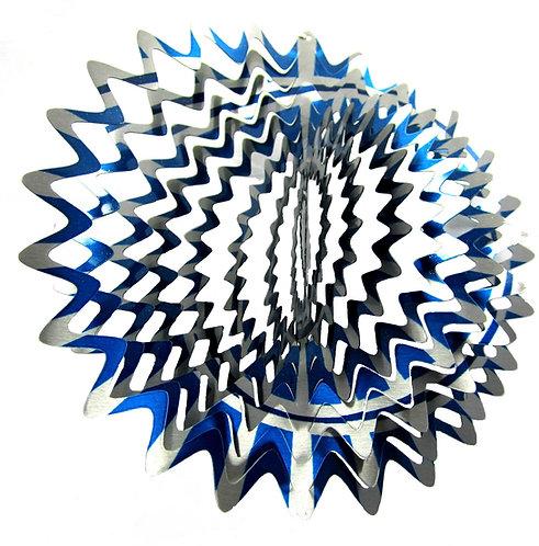 WorldaWhirl 3D Wind Spinner, Star Mandala Splash, Multi Color Blue Silver
