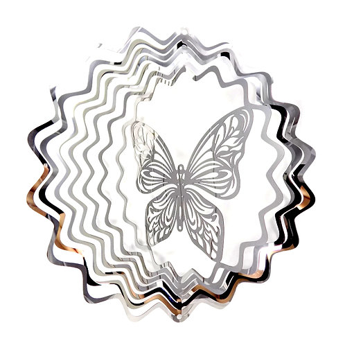 WorldaWhirl 3D Wind Spinner, Butterfly, Mirror Finish