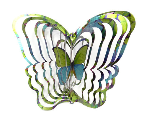 WorldaWhirl 3D Wind Spinner, Morpho Butterfly, Multi Blue Green