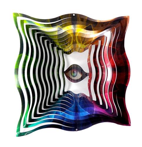 WorldaWhirl 3D Wind Spinner, Rainbow Square Eye, Multi