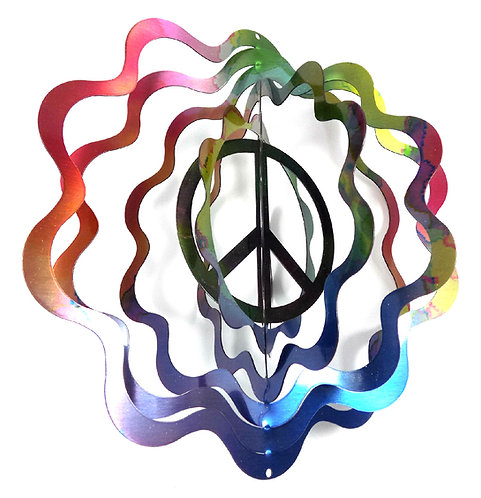 WorldaWhirl 3D Wind Spinner, Peace Sign Multi Rainbow