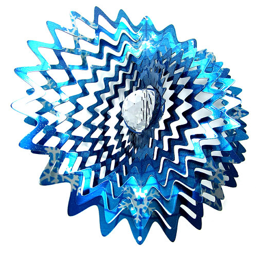 WorldaWhirl 3D Wind Spinner, Crystal Star Mandala Splash Snowflake, Multi Blue