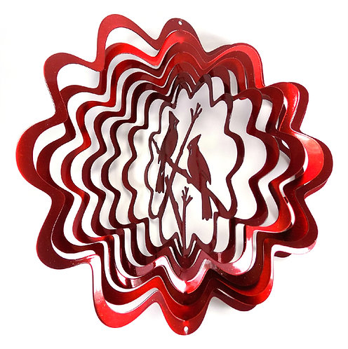 WorldaWhirl Whirligig 3D Wind Spinner Hand Painted Stainless Steel Cardinal Red
