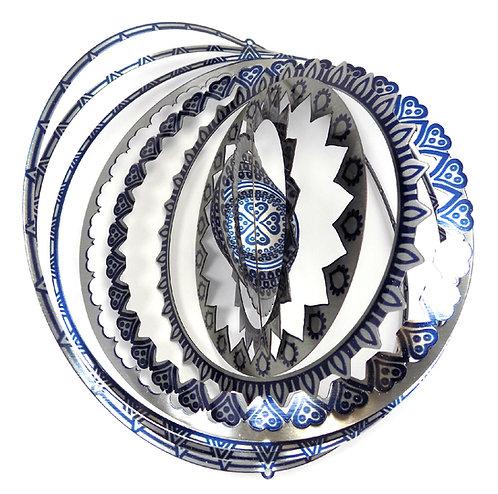 WorldaWhirl 3D Wind Spinner, Mandala Multi Blue Silver