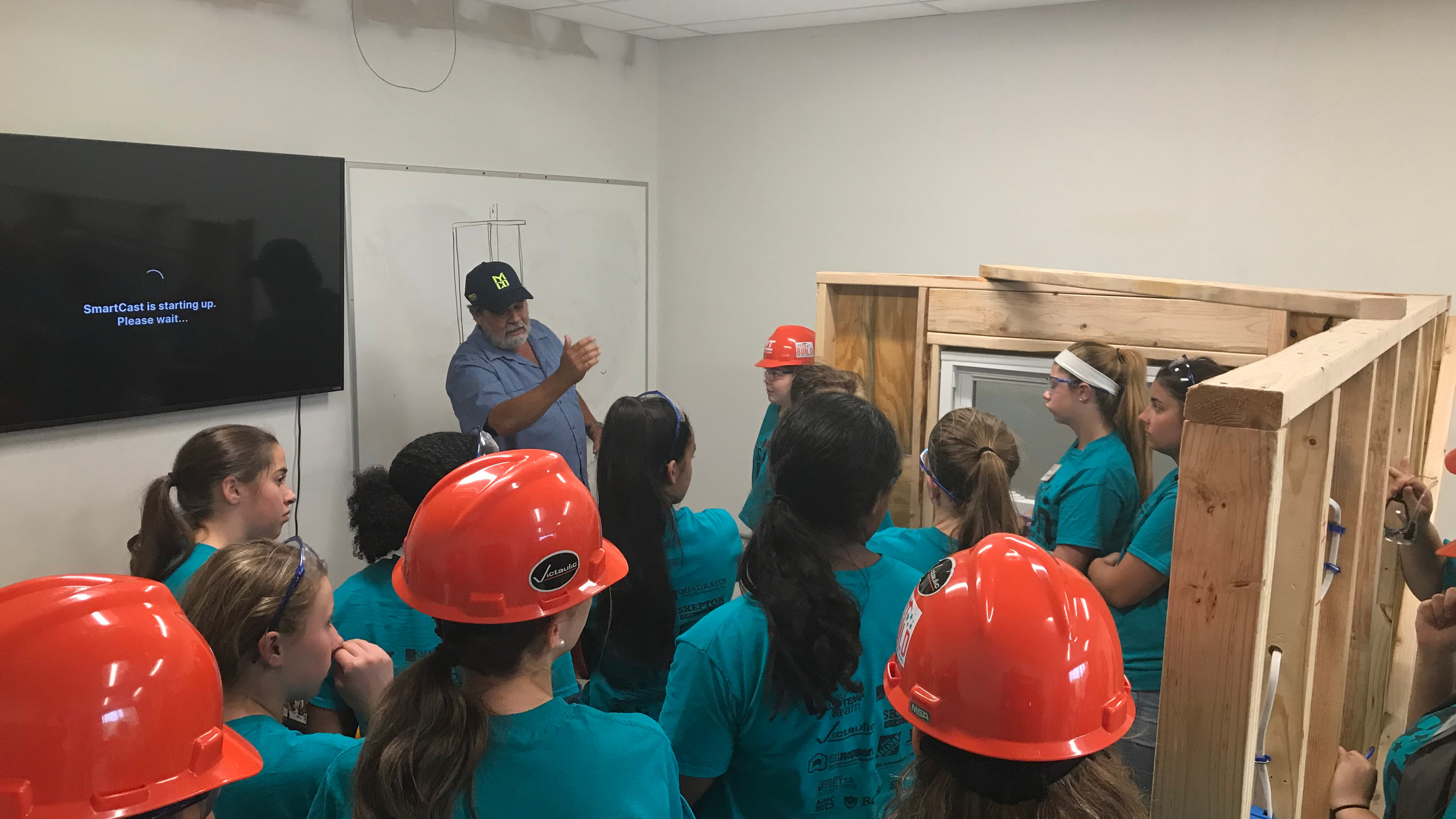 Stan Cordova, of Myco Mechanical, teaching Plumbing to the campers.