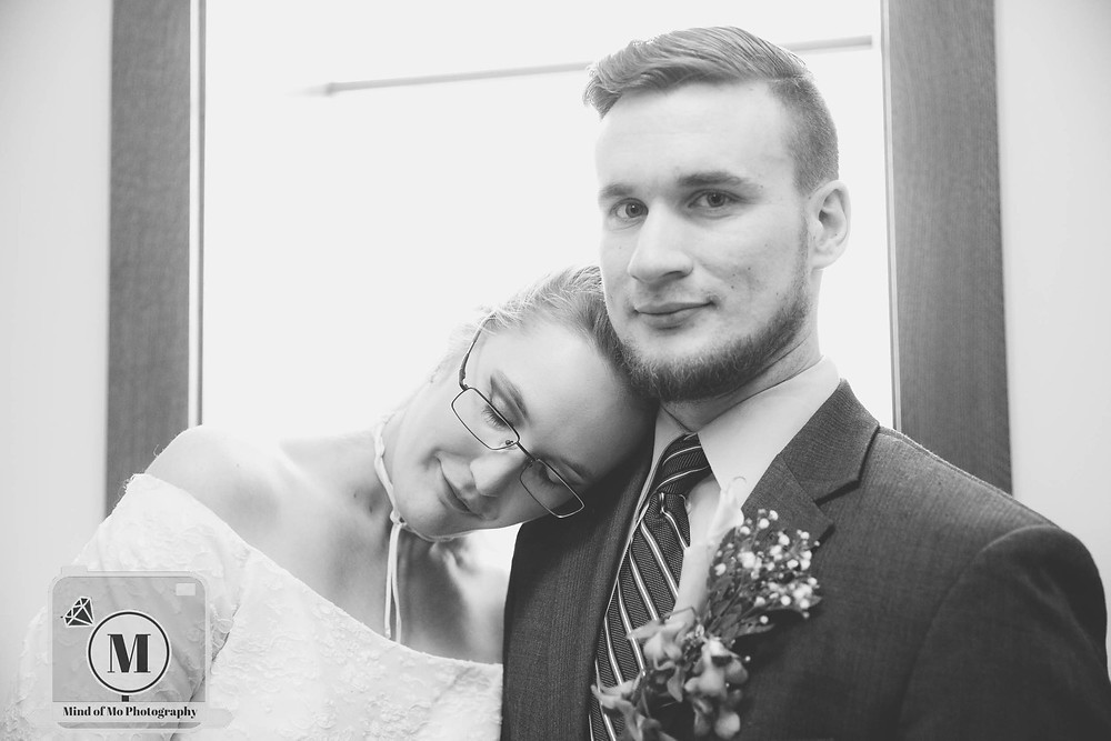 Church wedding b&W