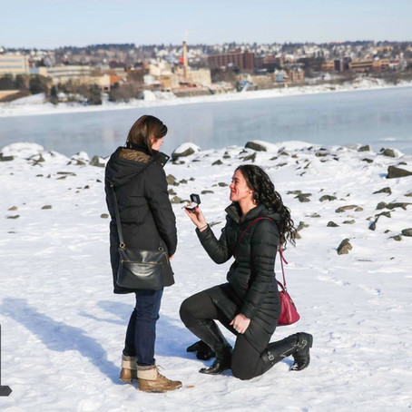 Katie & Alyssa - Proposal at the Canal Park Lakewalk - Duluth, MN