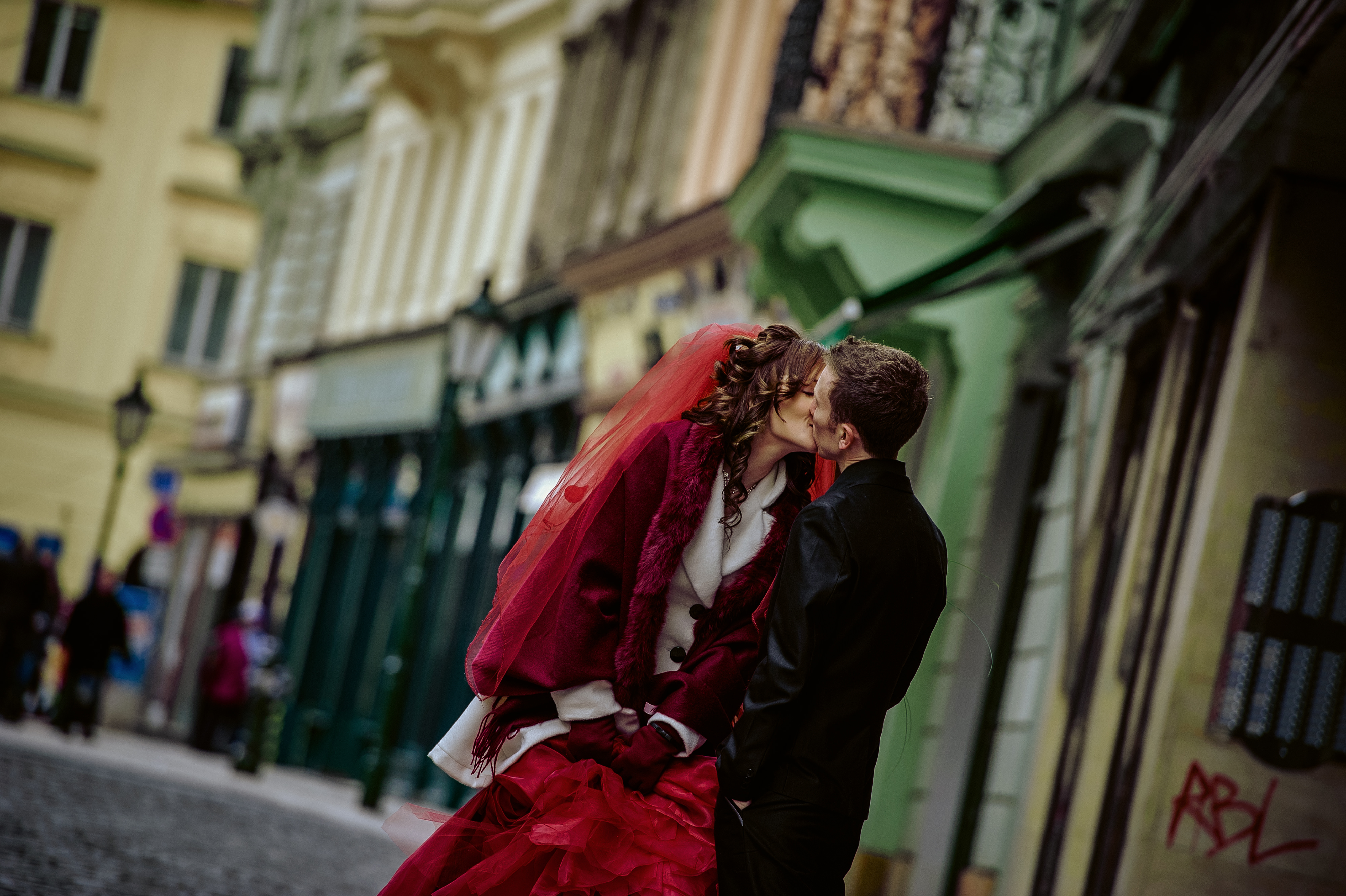 Wedding in Prague. Nancy with Red Bridal Dress