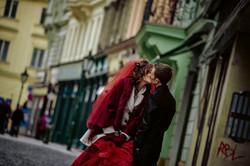 Wedding in Prague. Nancy with Red Bridal Dress