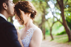 Groom Kiss Bride in the Forehead