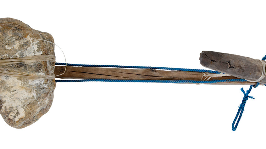 Indonesian wooden anchor (underside) (Wood, stone, iron, polypropylene rope, nylon monofilament fishing line) Maker unknown circa 1990 Gift of the Australian Fisheries Management Authority 1995 M95.13 Photos: MAGNT