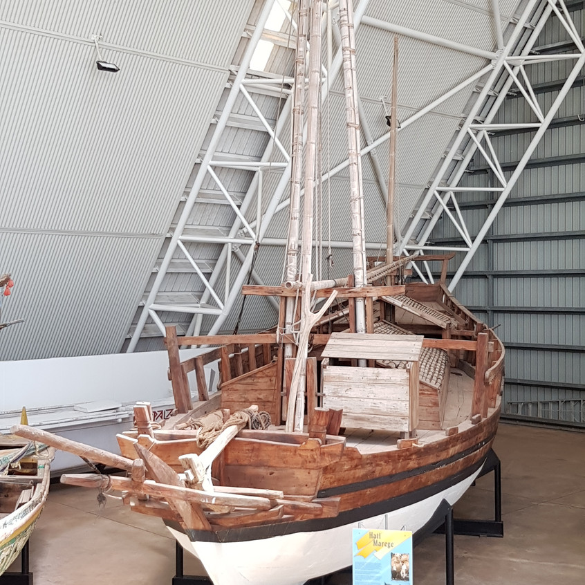 Hati Marege ('heart of Arhnem Land') is a replica of a typical 19th century Macassan perahu padewakang. In the late 1800's this type of vessel was commonly seen off the north Australian coast during the west monsoon season (December to April).