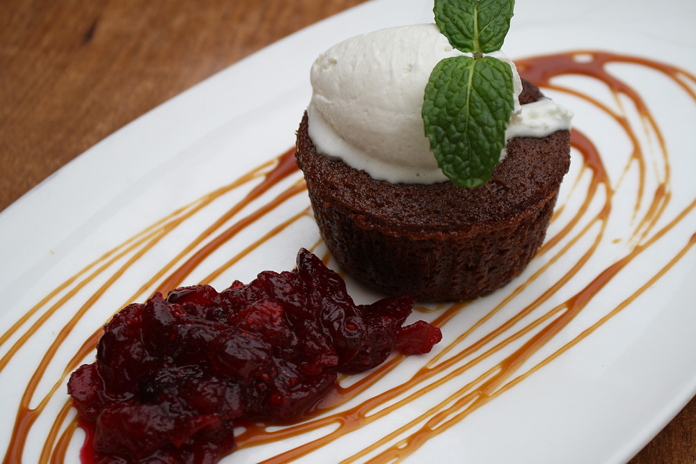 molasses-ginger cake cranberry compote, chantilly