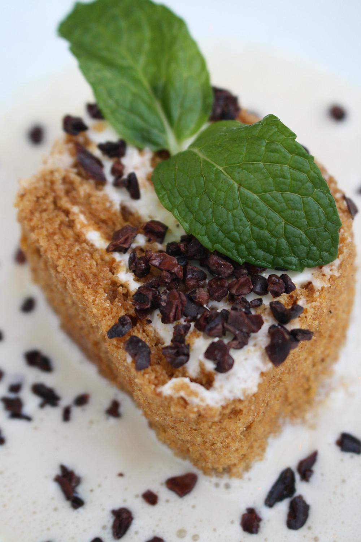 pumpkin cake  mascarpone crema, cocoa nibs, spiced anglaise