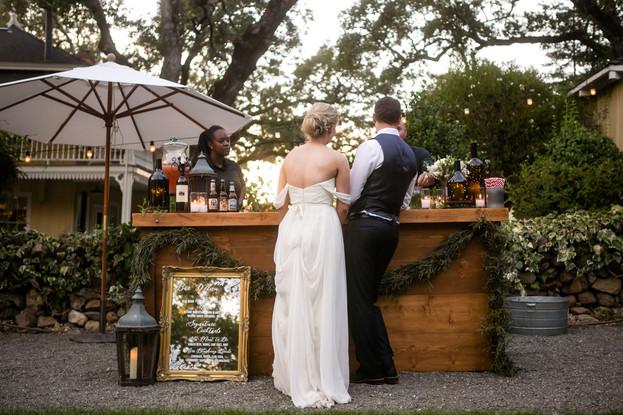 bride & groom celebrating