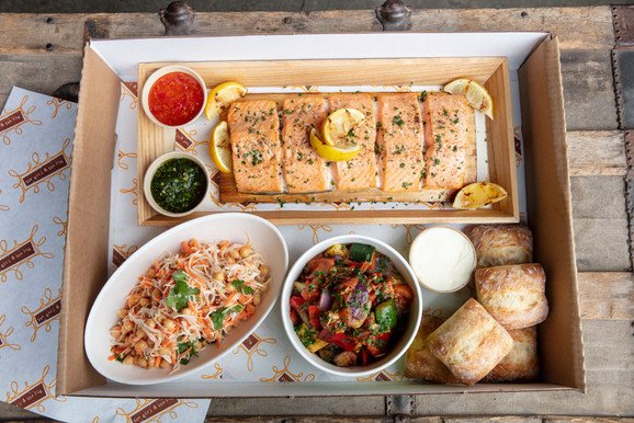 casual catering salmon with sides