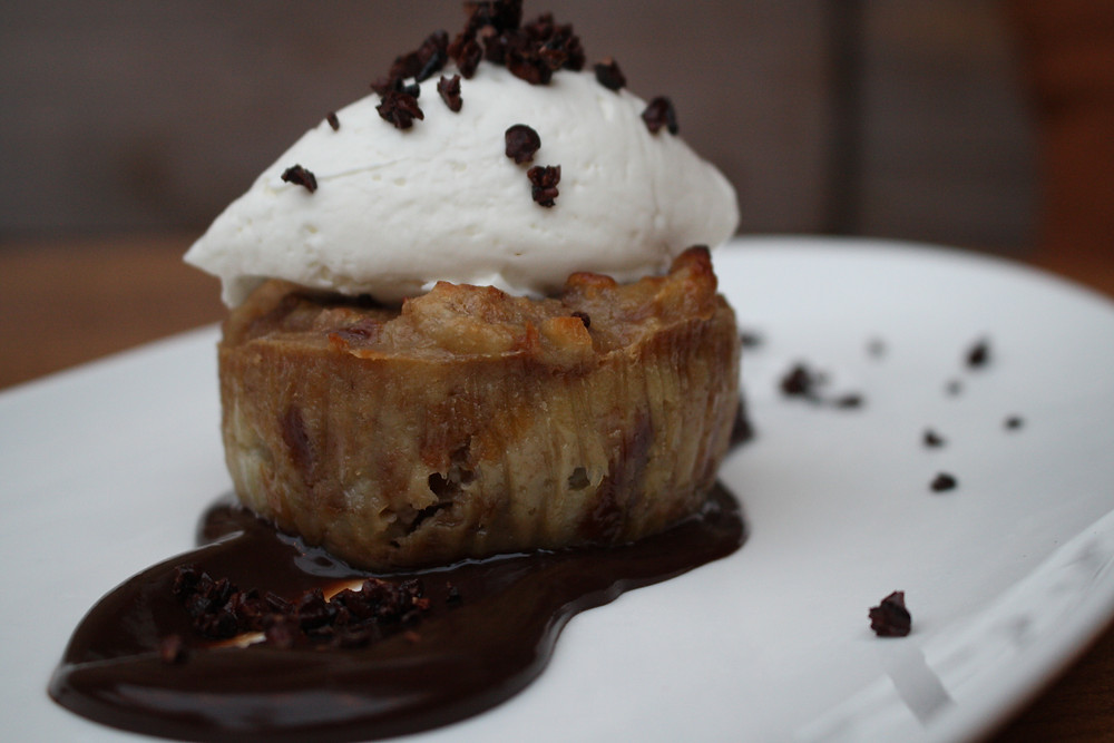 chocolate chunk bread pudding chocolate sauce, whipped mascarpone