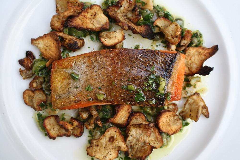 Mt. Lassen trout roasted sunchokes, salsa verde, castelvetrano olives