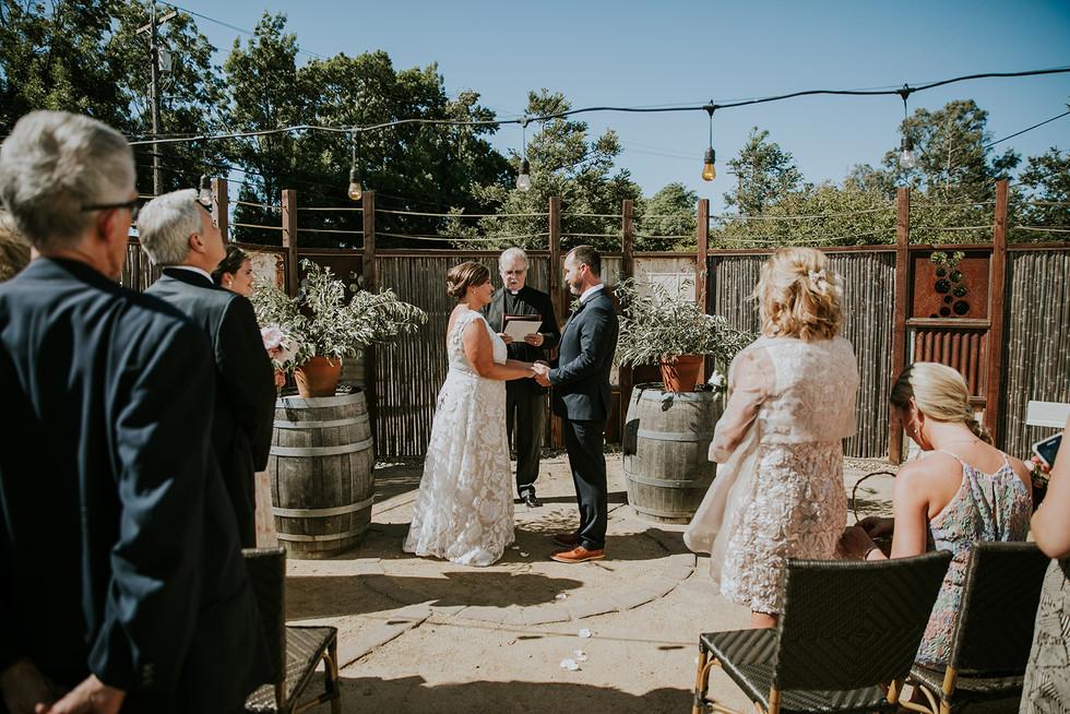 patio wedding ceremony