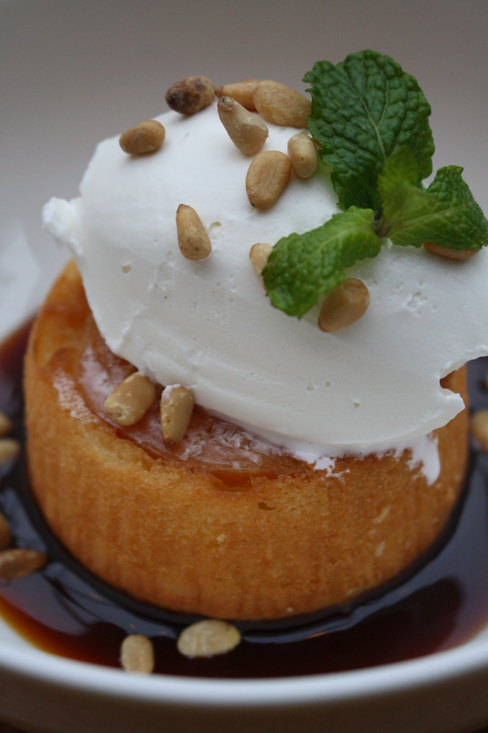 lemon upside-down cake blood orange caramel, vanilla chantilly, toasted pine nuts