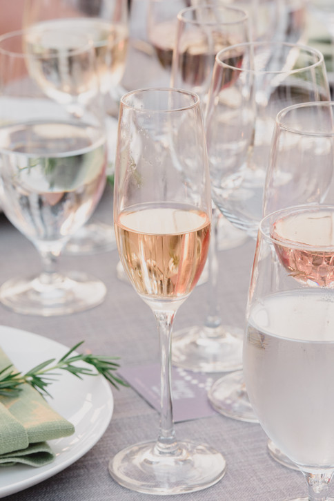 sparkling wine at the table