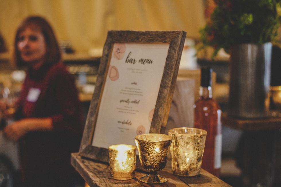 bar menu at event