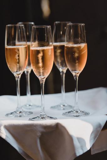 several glasses of sparkling wine