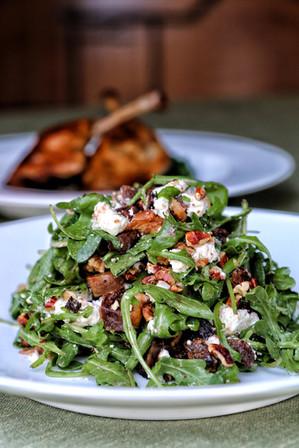 fig & arugula salad with duck confit