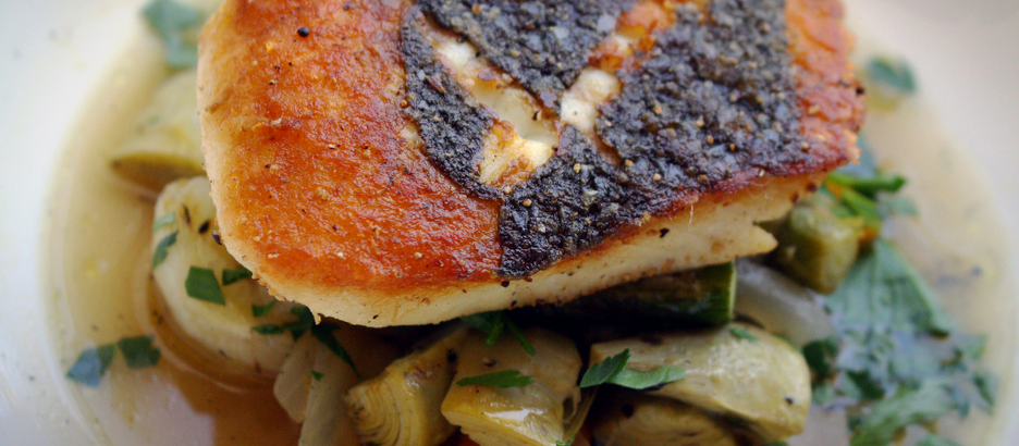 from the kitchen: Pacific Halibut with Grilled Spring Vegetable Barigoule