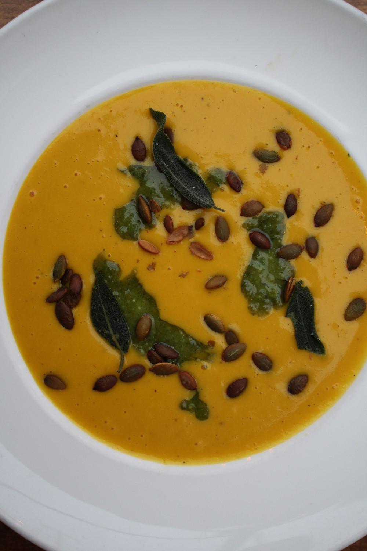 roasted butternut squash soup sage pesto, toasted pumpkin seeds