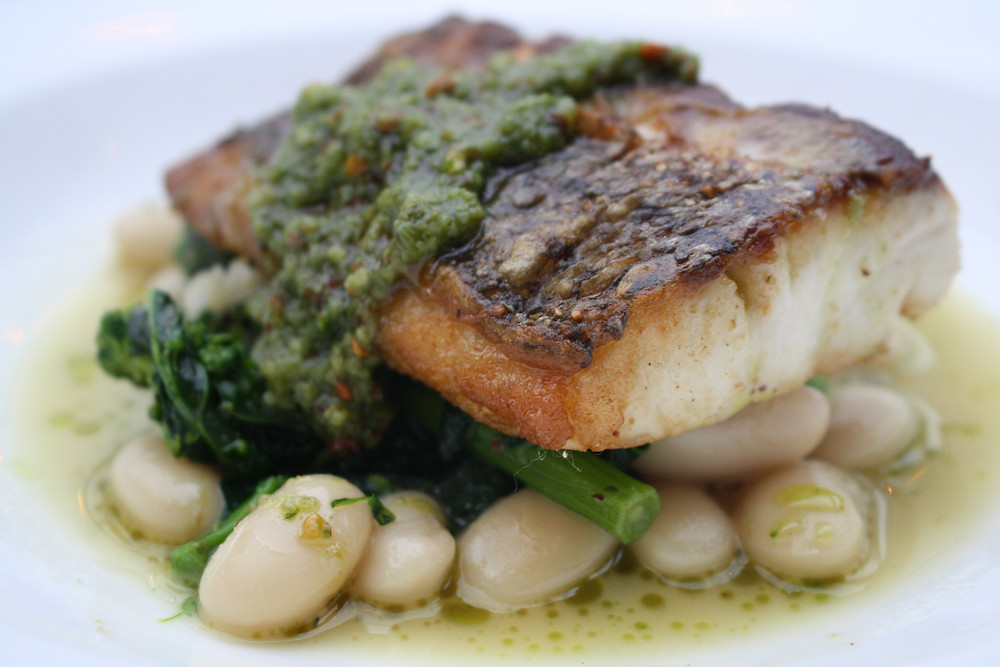 striped bass  white beans, broccoli rabe, nettle pesto