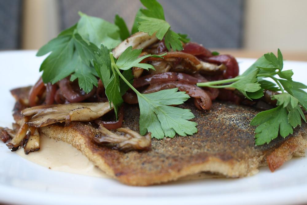 semolina crusted trout roasted mushrooms, madeira cream sauce