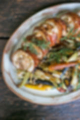 dinner plate with tenderloin and veggies