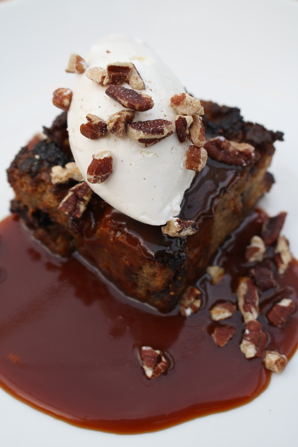 white chocolate & fig bread pudding salted caramel, toasted pecans
