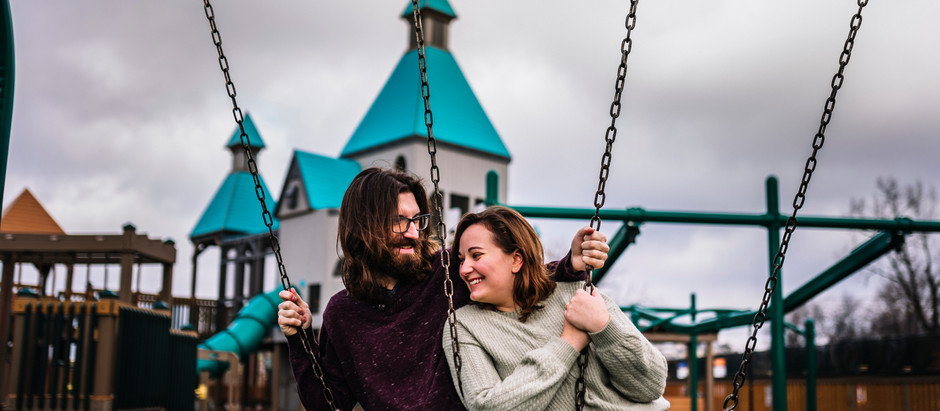 Ellen and Logan // Engagements // Castle Playground & Downtown Evansville