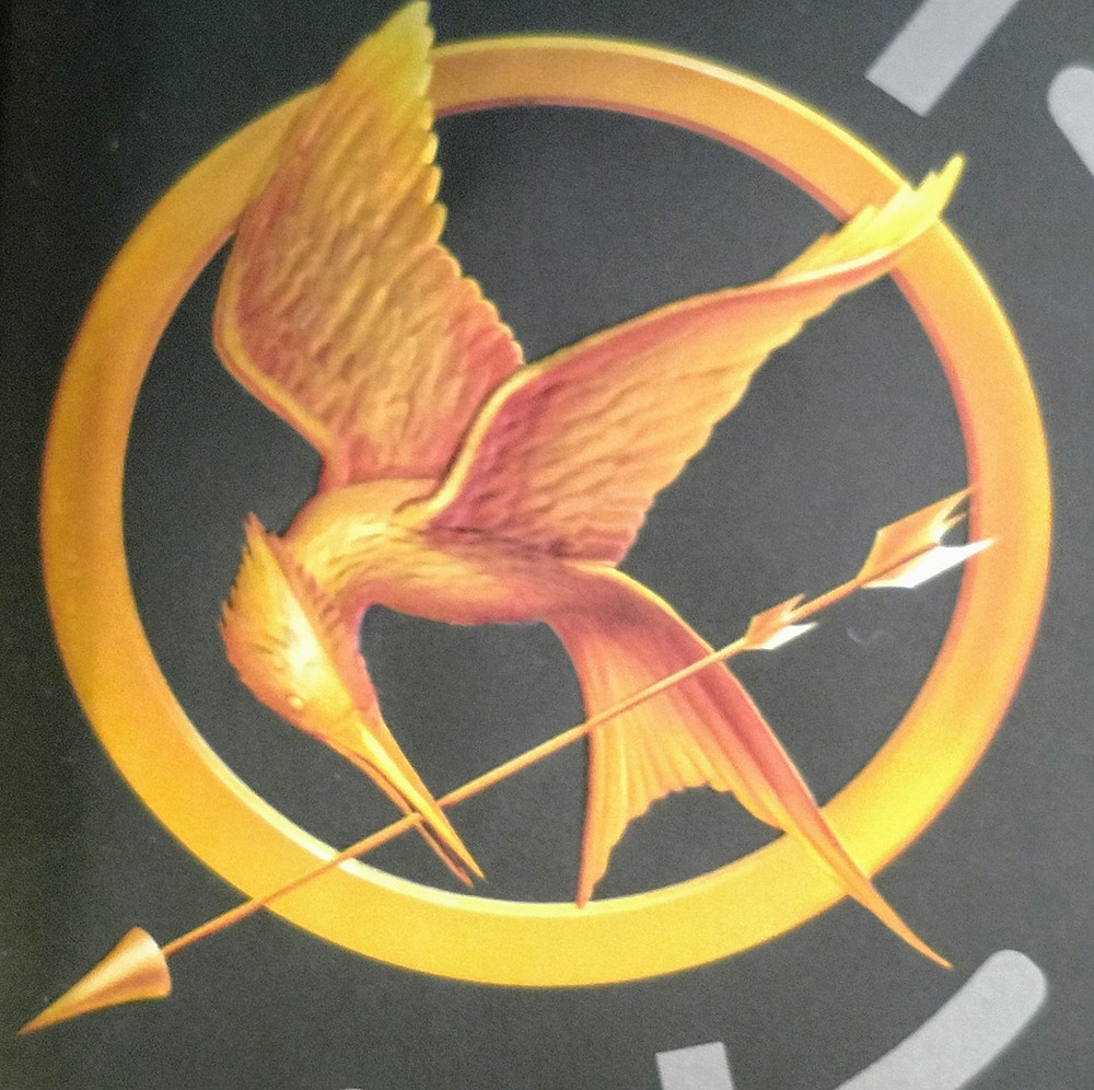 Picture of the Mockingjay on the Hunger Games book