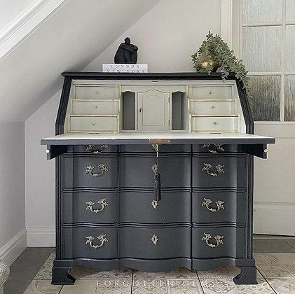 Large Oak Bureau in Jet Black