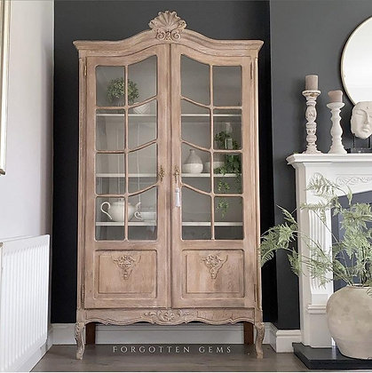 Limed Oak French Glass Cabinet