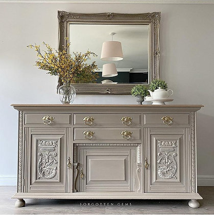 Solid Oak Carved Sideboard in Taupe
