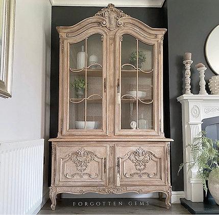 Vintage French Limed Oak Cabinet