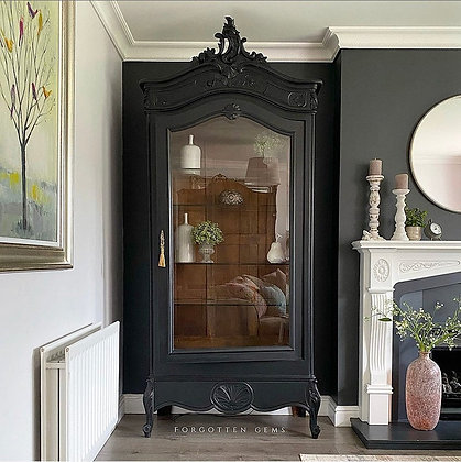 Large French Armoire in Jet Black