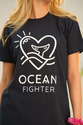 Legeres Rundhals-T-Shirts mit Ocean Figh