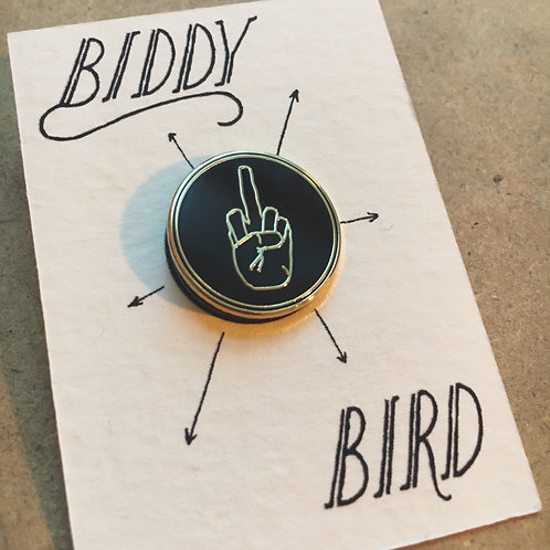 Biddy Bird lapel pin
