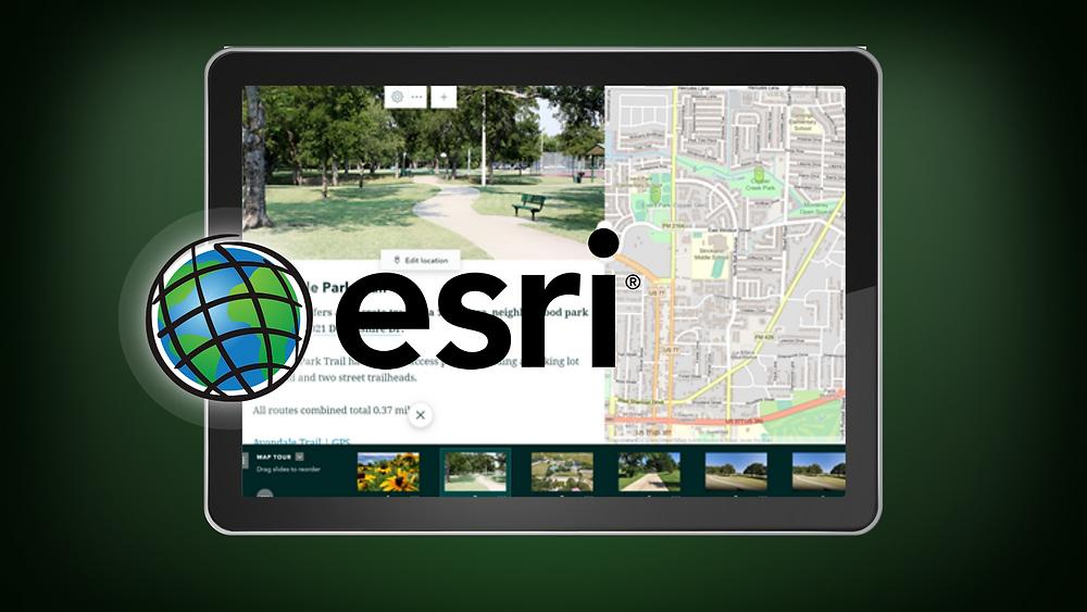 computer screen with ESRI logo