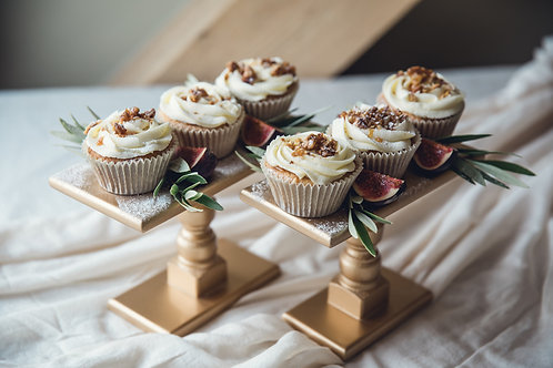 A box of 12 salted caramel cupcakes.