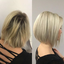 Chelsea had a full head of highlights to eliminate the warm brassy tones in her hair to create this