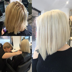 Before and after on Hannah today from golden to ice blonde ❄️❄️❄️ colour cut & blow by Rebecca 💁🏼