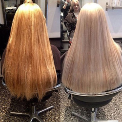 Amy used a ashy toner on Sophie to help neutralise the warmer toners that can be seen the the left o