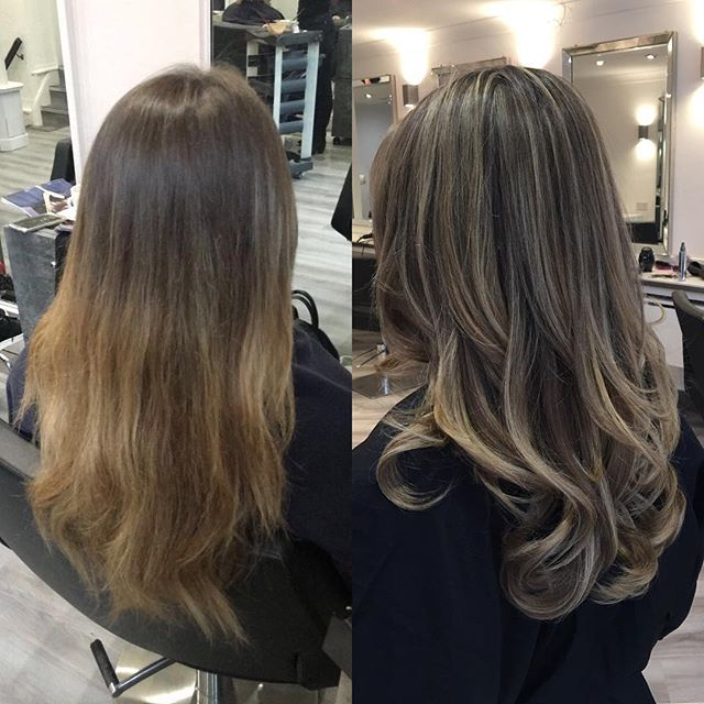 Balayage touch up for Charlotte💁🏼 this was achieved by doing a full head of scattered highlights a
